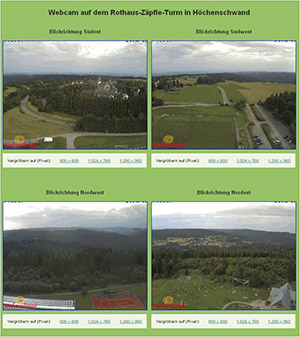 Internetseite Höchenschwand mit Bildern von 4 Webcam